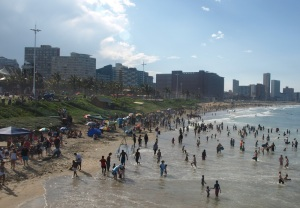 Replacing a sea front that used to be concrete, restored dunes now protect the shore at Durban's North Beach.