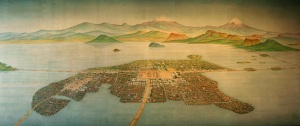 Pre-conquest Mexico City, an artist's impression in Mexico's National Museum of Anthropology.