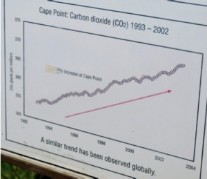 Atmospheric carbon dioxide levels, measured at Cape Point