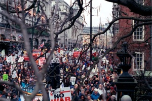The great London march of over a million people against the Iraq war, 15 February 2003. My own pic.