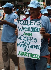 'Toilets, washbasins and geysers last maintained by apartheid.' Protester in Durban, December 2011. Pic copyright David Le Page.