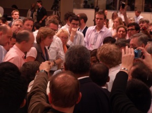 Climate negotiators huddle during the closing hours of the COP17 UN climate conference in Durban, 2011. Pic: David Le Page